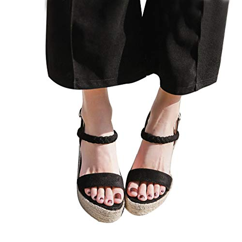 Womens Wedge Sandals Jute-Rope High Heel Summer Ankle Strappy Pumps Platform Shoes (Black, US:5.0) -