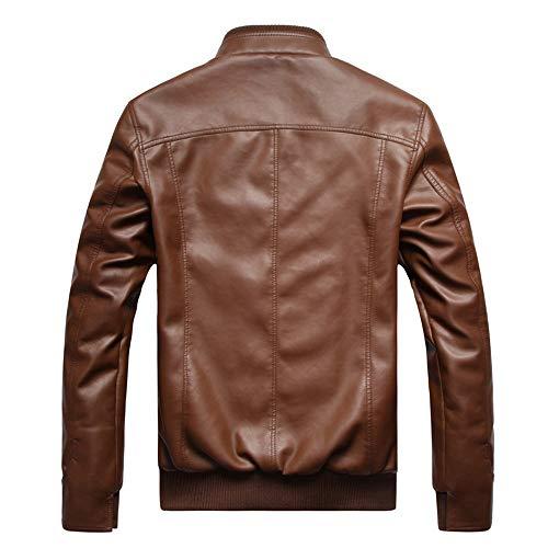 Motard Homme À Cuir Mode Moto Manteau Marron Glissière Ancien Veste En FtwwnxA4