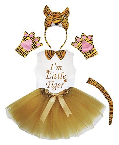 [Petitebella 3D I'm Little Tiger Brown Bowtie Shirt Skirt Girl 6pc Costume (3-4 Years)] (Tiger Costumes Girls)