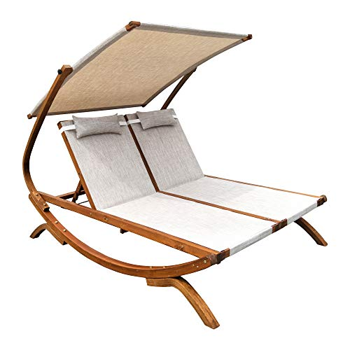 - Leisure Season  Double Reclining Patio Lounge Chair with Canopy & 2 Pillows , Solid Larch Hardwood