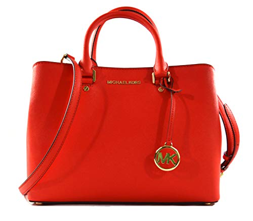 Michael Kors Savannah Saffiano Leather Large Satchel Crossbody Bag Purse Handbag (Dark ()