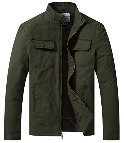 WenVen Men's Fall Casual Army Lightweight Jacket(Army Green,Medium) (Twill Cotton Jacket Casual)