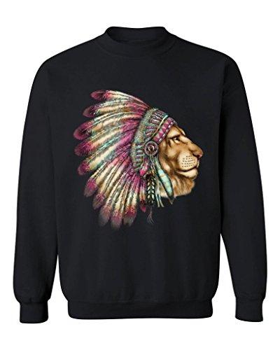 P&B Lion wearing a War Bonnet Crewneck Sweatshirt, S, (Wearing Bonnet)