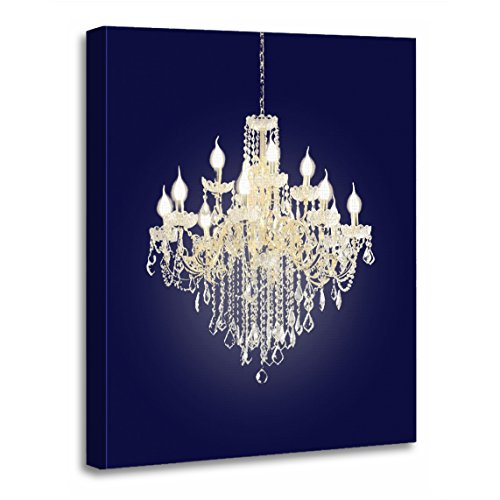 TORASS Canvas Wall Art Print Silhouette Crystal Chandelier Photography White Gold Artwork for Home Decor 12