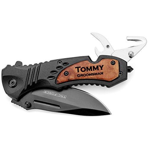 Engraved Tactical Rescue Knife Seat Belt Cutter Bottle Opener Glass Breaker Pocket Folding Black Blade Custom Personalized