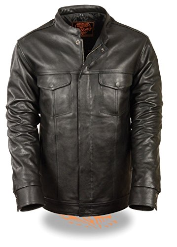 Milwaukee MEN'S MOTORCYCLE SON OF ANARCHY CLUB STYLE LEATHER SHIRT SNAP JACKET BLACK NEW (L Regular)