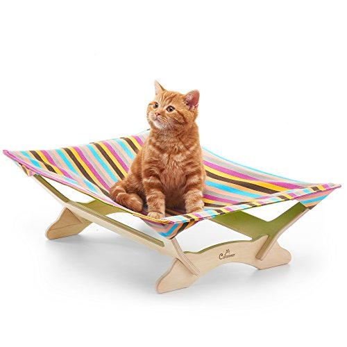 - CATONEER Cat Hammock - Cat Bed - Pet Bed Frame - Cotton Padding- Soft Comfy- Ideal for Pets Up to 17lbs- Lightweight - Birch Wood Construction- Great Gift Idea for Every Cat Lover SpringPlum