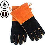 IRVING Outdoor BBQ gloves camping fire barbecue high temperature insulation thickening long welding protective gloves leather