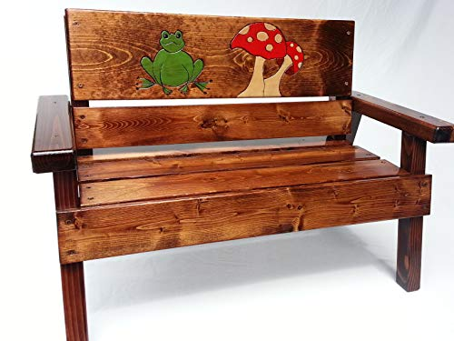 (Kids Wooden Bench, Engraved and Painted Frog and Mushroom, Indoor/Outdoor)