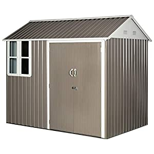 Outsunny 8 x6 Metal Shed With Window Grey