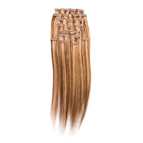 "Price comparison product image Sono 1 Count 160 g 20"" Clip-in Straight Sono 1 Count 100% Human Hair Extensions, #6/10 Dark Chestnut & Medium Ash"