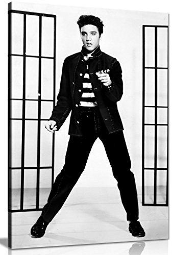 - Elvis Presley Black & White Jailhouse Rock Canvas Wall Art Picture Print (18x12in)