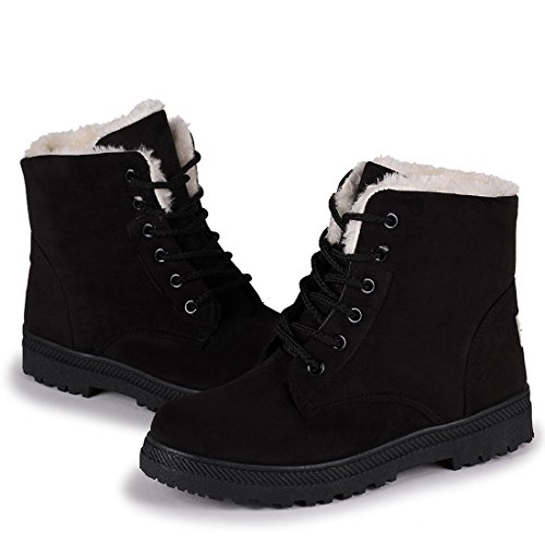 Susanny Suede Flat Platform Sneaker Shoes Plus Velvet Winter Women's Lace Up Black Cotton Snow Boots 6.5 B (M) US