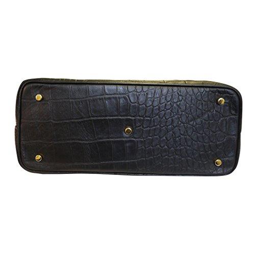 Carbotti designer italien croc en cuir imprimé fourre-tout carré sac bandoulière - noir