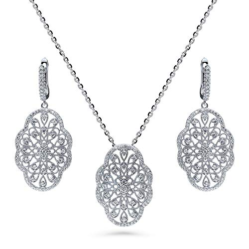 (BERRICLE Rhodium Plated Sterling Silver Cubic Zirconia CZ Art Deco Filigree Flower Fashion Necklace and Earrings)