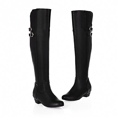 Fashion Heel Womens Low Heel Round Toe Over The Knee Boot With Buckle Black K6Fpjd