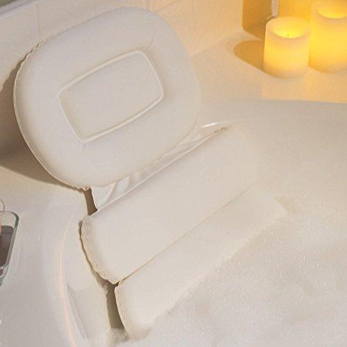 Bath Pillow Luxury Comfort White 3-Panel Vinyl Bathtub Pillo