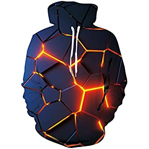 Loveternal Homme Sweats à Capuche 3D Pull Imprimé à Manches Longues Sweatshirt avec Poches à Cordon