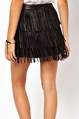 Tassel Di Festa Black Bodycon Minigonna Frange Elegante Colore Donna Solido tq5HZc