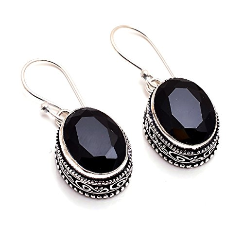 Faceted Gemstone Drop - 925 Sterling Silver Overlay Earrings, Black Onyx Gemstone Handcrafted Vintage Jewelry Pe910