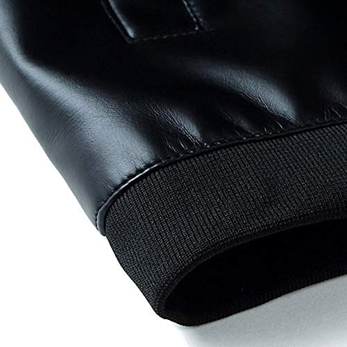 Jacket Leather Outwear Zip Men Cool Black Jacket Winter Mamum Warm Slim Men Smart Overcoat Trench Biker Leather U57xqF7dw