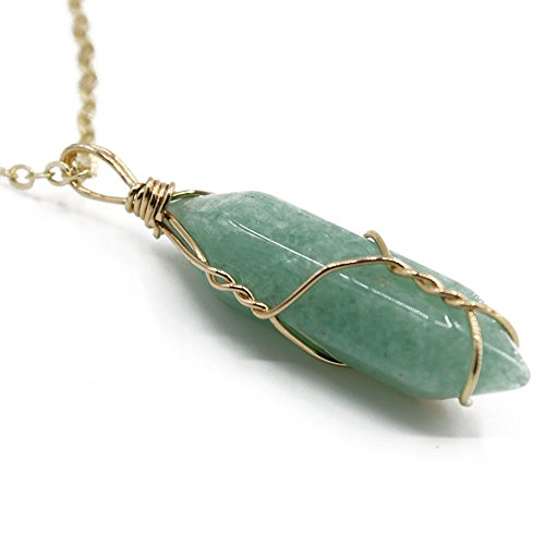Casual Necklace (Green Quartz Stone Pendant Necklace Gold Tone on 20