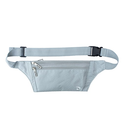 Ultrathin Casual Outdoor Sport Polyester Stealth Small Running Travel Waist Bag Silver Gray