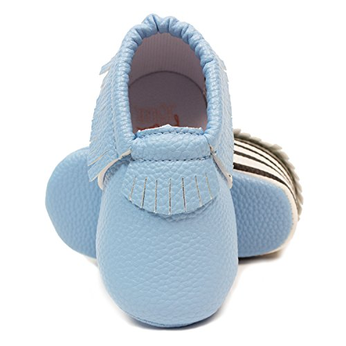 Frills Infant Toddlers Baby Boys and Girls Soft Soled Fringe Crib Shoes PU Moccasins - Striped Blue (for Ages 6-12 months/12 cm Length) by Frills Du Jour (Image #1)