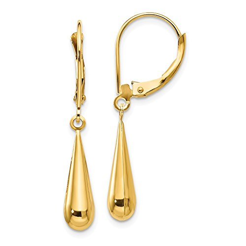 14k Yellow Gold Teardrop Drop Dangle Chandelier Leverback Earrings Lever Back Fine Jewelry Gifts For Women For Her