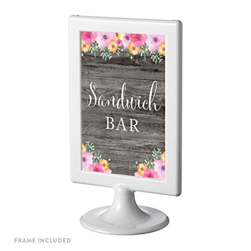 Andaz Press Framed Wedding Food Party Signs, Rustic Gray Wood Pink Floral Flowers, 4x6-inch, Sandwich Bar, 1-Pack, Includes Reusable Photo Frame