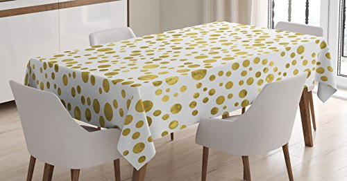 - Polka Dots Home Decor Tablecloth by Ambesonne, Illustration of Golden Polka Dots Vintage Style Art Deco Pattern Bridal Decor, Dining Room Kitchen Rectangular Table Cover, 52 X 70 Inches, Gold White