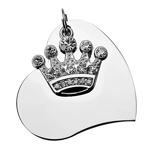 - HooAMI Stainless Steel Pet Id Tags for Dogs & Cats with Clear Crystal Imperial Crown Charm