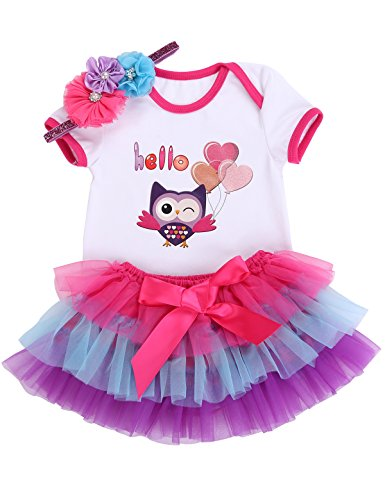 Smilsheep Reborn Doll baby girl clothes ruffles Skirt Headband Romper 3pcs Set hello owl 0-6 Months/21-26''/10-16.3 lb