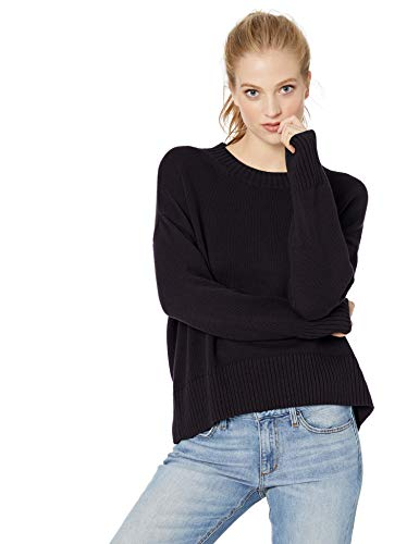 Amazon Brand - Daily Ritual Women's 100% Cotton Boxy Crewneck Sweater, Navy, Large