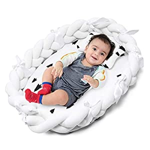 SweetEasy Baby Lounger for Co Sleeping - Baby Bassinet Baby Nest Sharing Co Sleeping, Soft Cotton Cosleeping Baby Bed Premium Quality and Bigger Size (0-24months) -Breathable & Portable, Tree White