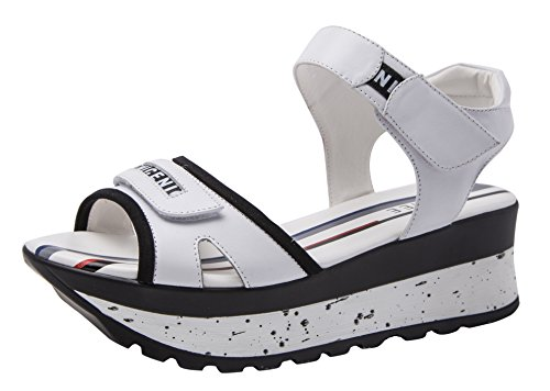 2 Ring Creeper Sneaker (CAIHEE Women's Summer New Style Casual Breathable Velcro High Platform Fashion Sandals(5.5 B(M)US,white) (5.5 B(M) US, White))