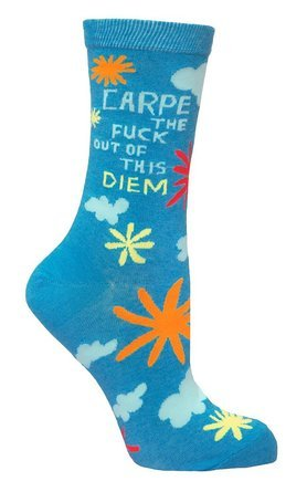 Blue Q Socks, Women's Crew, Carpe The F--k Out of This Diem,One Size (fits women's shoe size 5-10 US),blue, red, white, orange