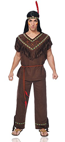 [Costume Culture Men's Native American Brave Costume, Dark Brown, X-Large] (Indian Man Costume)