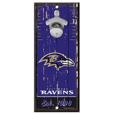 (WinCraft NFL Baltimore Ravens Bottle Opener5x11 Wood Sign Bottle Opener, Team Colors, 5