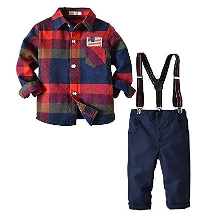 Conjuntos Bebé, LANSKIRT Bebé Niño Pajarita Caballero Top de Tela Escocesa Camiseta Romper Pantalones Pantalones Conjuntos: Amazon.es: Ropa y accesorios