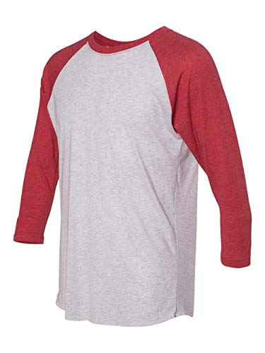 Next Level Apparel 6051 Unisex Tri-Blend 3 by 4 Sleeve Raglan - Vintage Red & Heather White44; Small ()
