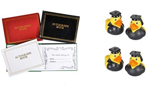 Fun 8 Piece Set of Graduation Party Favors ~ 4 Graduation Rubber Ducks & 4 Autograph Books]()