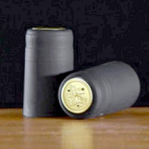 Heat-Shrink Wine Bottle Capsules (Black, Matte), 100 Count
