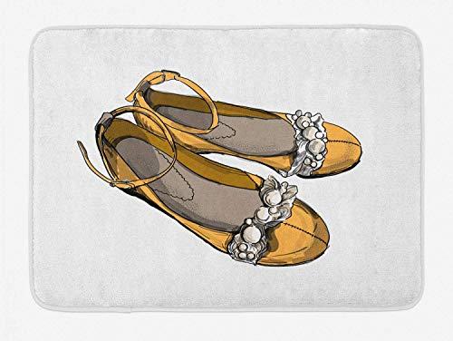 guoyucheng Shoes Bath Mat, Hand Drawn Feminine Footwear Fashion Graphic of Delicate Flats, Plush Bathroom Decor Mat with Non Slip Backing, 16W X 24L Inches, Pale Orange Dark Tan and Eggshell