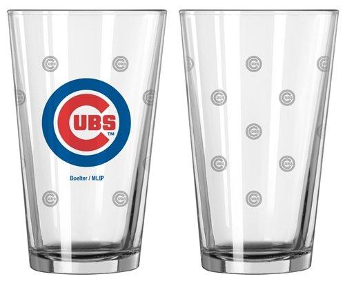 Chicago Cubs Satin Etch Pint Glass Set Hall of Fame Memorabilia