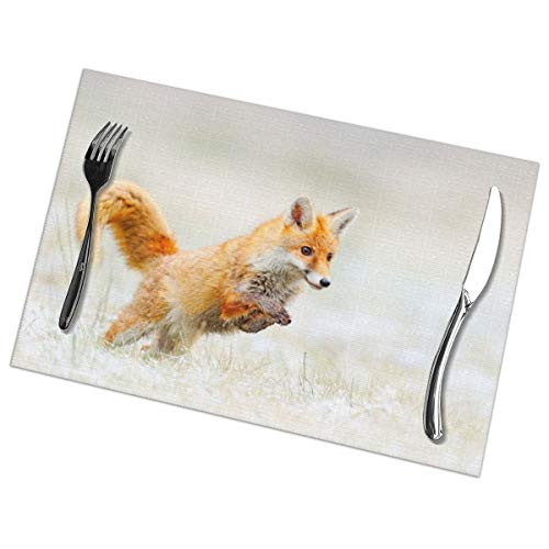 Dingl The Fox Jumped On The Snow - Mantel individual lavable, antideslizante, para cocina, mesa de comedor, facil de limpiar, 30,5 x 45,7 cm, juego de 6