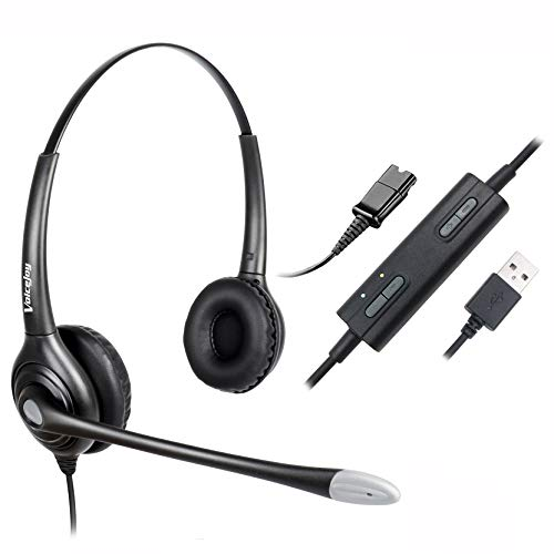 USB Plug Corded Headphone Call Center Comfort Noise Cancelling Headset with Adjustable Mic, Mute Volume Control for Calls on Laptops PCs Computers - Binaural
