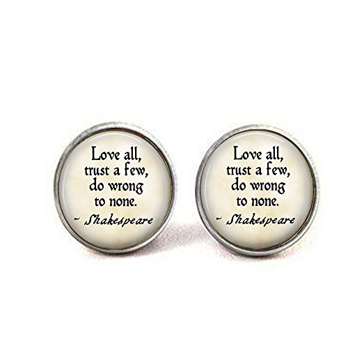 lukuhan Love All, Trust a Few, do Wrong to None - Shakespeare Quote Pendant - Shakespeare Jewellery - Shakespearean Cufflinks