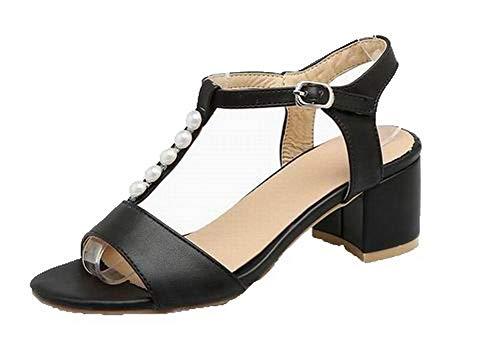 Sandalias Con Tacón Sólido Hebilla De Vestir Aalardom Tsmlh007944 Mujeres Negro Medio wngY5paIq