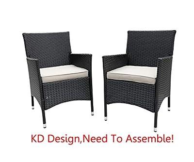 Do4U 2 Pcs Rattan Wicker Outdoor Dining Chairs | Patio, Backyard, Porch, Garden, Poolside